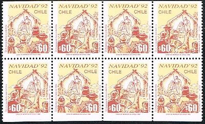 CHILE 1992 STAMP # 1596a/7b DS-20 MNH BLOCK OF FOUR CHRISTMAS