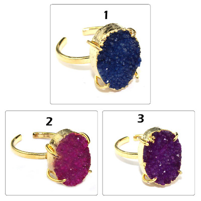 Oval Natural Sugar Druzy Quartz Gold Plated Adjustable Prong Setting Drusy Ring