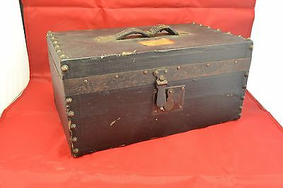 Antique 19th Century Painted Canvas Covered Pine Box    ND3563