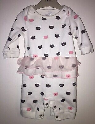 Girls Age 0-3 Months - Bluezoo All In One Romper - Cats