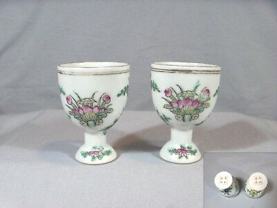 Antique/vintage Hand-Painted Chinese Sake/egg Cups-Red Four Character Marks