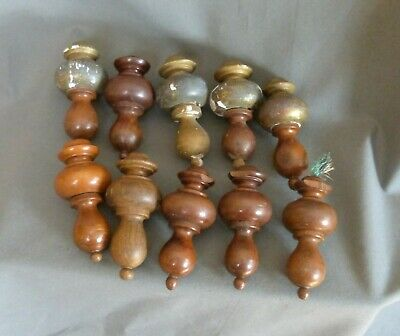 Set of 10 Antique French wooden curtain tieback finials 19th century