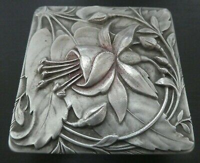 Art Nouveau Deco Design Dubarry Shalimar Brilliantine Metal Box Fuchsia