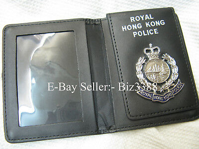 Damaged~! Genuine British Colonial Royal Hong Kong Police Warrant Card Holder