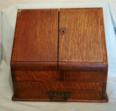 Antique Oak Table Top Stationary Box with single drawer - in need of Restoration
