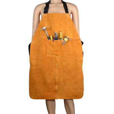1PC Leather Welding Bib Shop Apron Heat Resistant Blacksmith Mechanic Smock