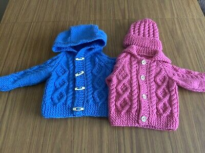 MADE TO ORDER: 0-3 Months Children's Hand Knitted Aran Cardigan + Hat or Hoodie