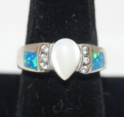 Vtg .925 Sterling Silver Mother Of Pearl W/ Blue Fire Opal & CZ Accents Size 8.5