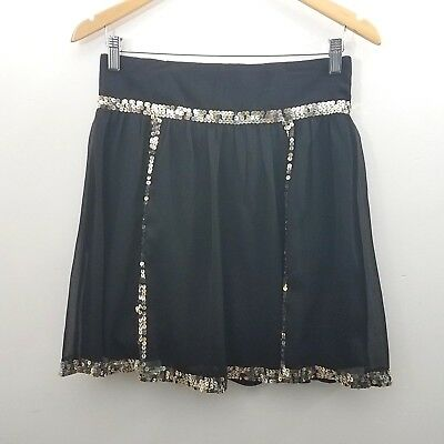 5c9117035 So Cool Skirt Size Small Solid Black Gold Sequin Trim A-line Party Casual