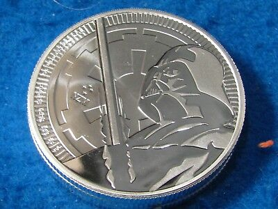 Star Wars Darth Vader Lightsaber .999 Silver Bu 2 Dollar Proof Coin