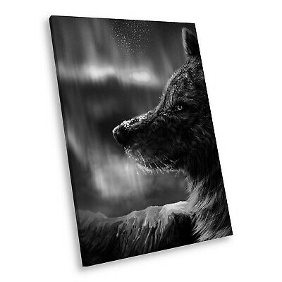 A181 Black White Animal Portrait Canvas Picture Print Large Wall Art Aurora Wolf