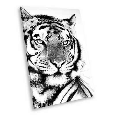 A462 Black White Animal Portrait Canvas Picture Print Wall Art Bengal Tiger