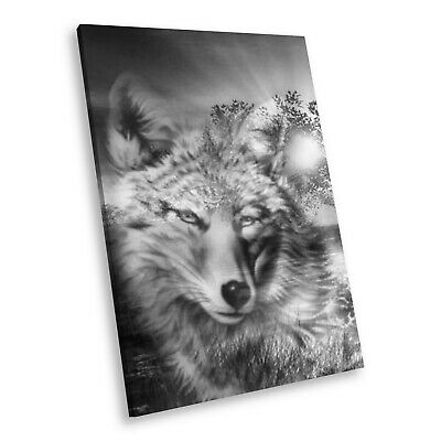 A467 Black White Animal Portrait Canvas Picture Print Wall Art Wolf Abstract