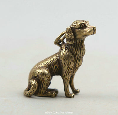 "1.3"" Curio China Bronze Zodiac Animal Golden-haired Dog Small Statue Pendant 28g"