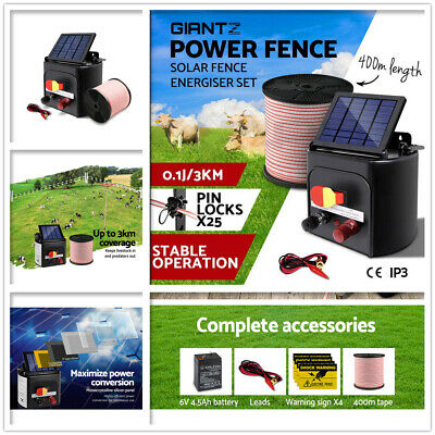 3km Solar Electric Power Fence Energiser Energizer Charger 0.1J Farm Poly Wire