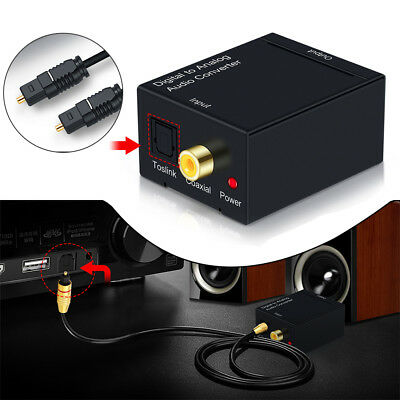 Digital to Analogue Audio Converter Coaxial Coax Optical Toslink RCA Adapter New