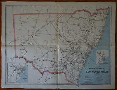 Antique Railway Postal & Telegraph Map of New South Wales, 1886