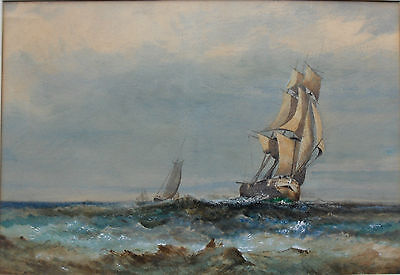 'Ships At Full Sail In Rough Seas' Fine Large 19Th Century Painting Gilt Framed