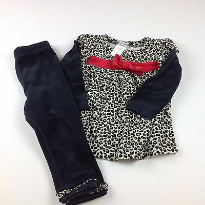 GIRLS Babyworks Cheetah Top with Red Bow with Matching Pants SIZE 18M