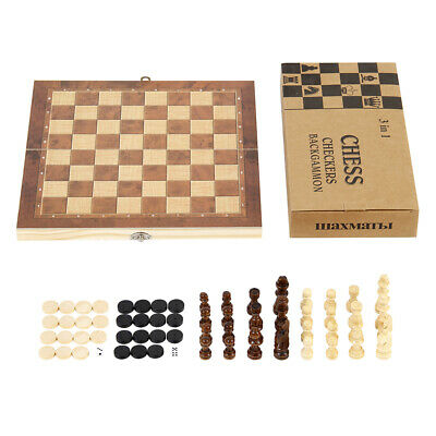 3in1 FOLDABLE WOODEN CHESS SET Board Game Checkers Backgammon Draughts Large New