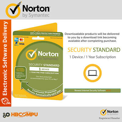 Norton Internet Security Standard 2019 1 Device 1 Year / PC MAC Android / 2019