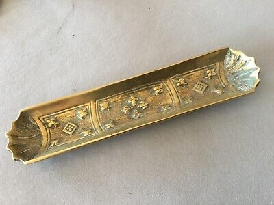 Vintage Brass Pen Tidy Dish Tray - Fleur-de-lis- British Made - approx 9 ins