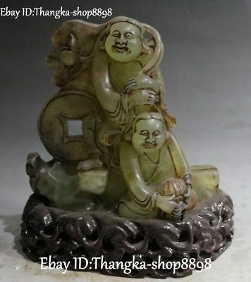 27cm Grade A Natural White Jade Carving Mammon Money Wealth God Yuanbao Statue Antiques