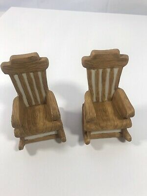 Set of 2 Miniature Ceramic Rocking Chair Doll Furniture Brown Table Top Display