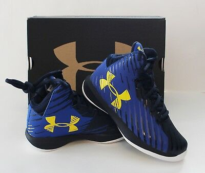 Youth Boy/'s Under Armour BPS JET 2017 Basketball Shoes Royal Blue//Yellow