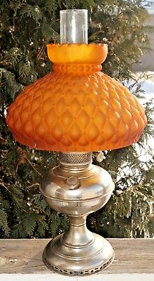 Antique 1890s -1910 B & H Bradley Hubbard Kerosene Oil Lamp W/ Satin Amber Shade