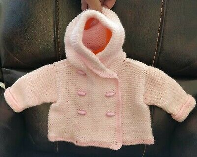 New Baby girls  hand knitted hooded coat, 3-6 months.