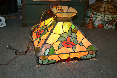 Antique Slag Stain Glass chandelier Arts & Crafts Victorian 18""