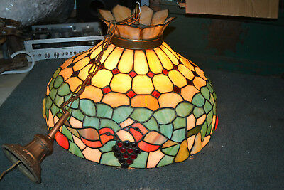 Arts Crafts Stained Slag Glass Chandelier Antique Vtg swag Mission Huge