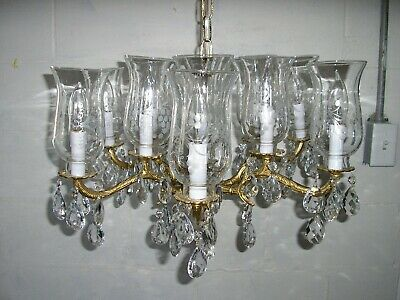 Vintage chandelier 12 bulb with 6 arms glass shades with glass prims