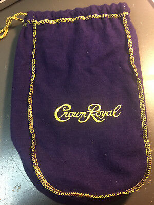 "Seagram's Crown Royal Purple Bottle Felt Bag with Draw String 9"" high"