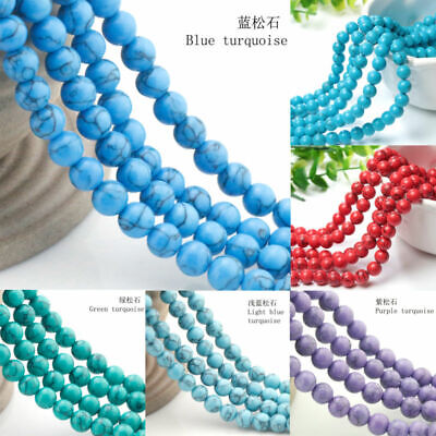 Natural Turquoise Gemstone Round Beads Spacer Loose Beads 4/6mm 15""