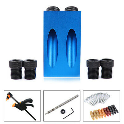 1X(Woodworking Pocket Hole Jig Kit 6/8/10Mm Angle Drill Guide Set Hole PuncB8N8)