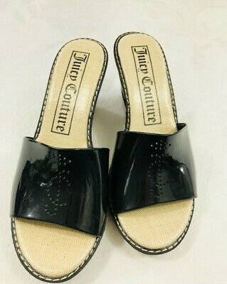 aa823e479ec Juicy Couture Women s Size 8 Black Beige Stripe Wedges Becka Jelly Slide  Sandals