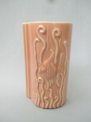 Pacific Pottery California Pink MCM Art Deco Stylized Fish Vase #3057