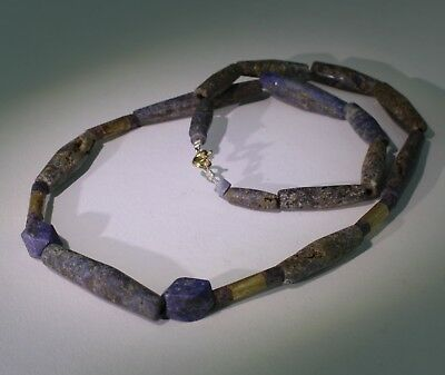 Nice Ancient Lapis And Gold Bead Necklace - Circa 500Bc  - No Reserve 022