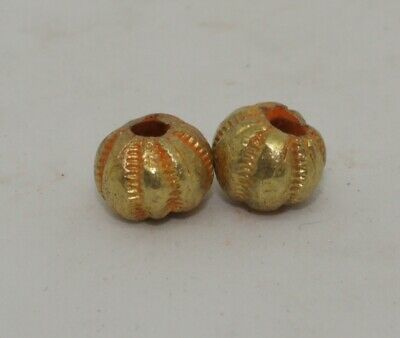 2 X Post Medieval Gold Beads - No Reserve 020