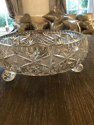 A Lovely Vintage 50s Large Heavy  Cut Glass, Fruit Or Punch Bowl Very Beautiful.