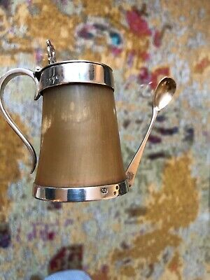 Rare Silver  MUSTARD POT ,ivory With Solid Siver, Made By Charles Edwards, 1876