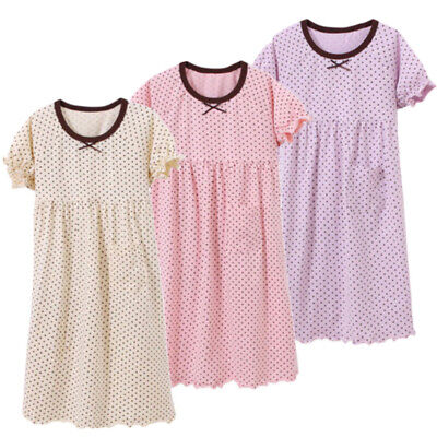 Girls Nightdress Nightie Pyjamas Cotton Short sleeve Nightwear Age 2-13 Years