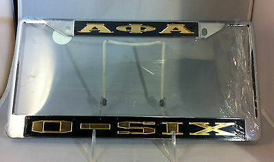 "Alpha Phi Alpha Fraternity ""O-Six"" License Plate Frame-Black/Gold- New!"