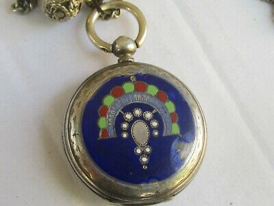 RARE Antique LE ROY a Paris Ottoman Empire silver enamel pocket Watch TO RESTORE