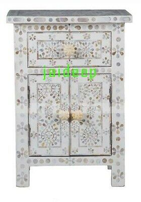 Handmade Handicraft Mother of Pearl Inlay White Bedside Table Nightstand