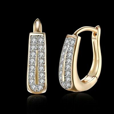 18K REAL GOLD FILLED HOOP EARRINGS 18X18 MM MADE  WITH SWAROVSKI CRYSTALS GF6