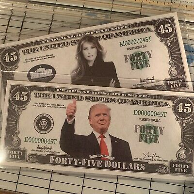 Donald Melania Trump TWO PACK Collectible United States Novelty 45 Dollar Bills