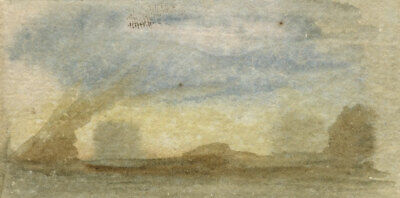 Thomas Sutcliffe, Miniature Landscape Sketch - 19th-century watercolour painting